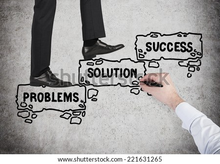 Businessman is going up to the future success,  - stock photo