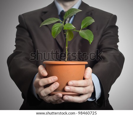 Businessman is holding a plant in pot. On dark gradient background - stock photo
