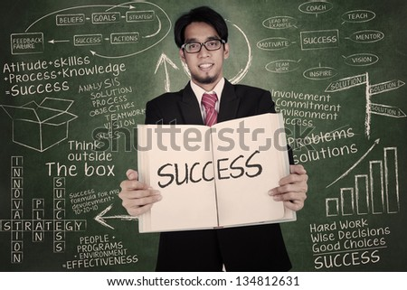 Businessman is holding book of success in front of written chalkboard - stock photo