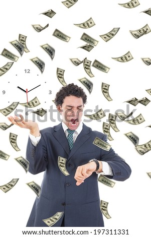Businessman is late in payment looking at his watch, Time is money with abstract clock on palm concept, Worried man surrounded by money bills