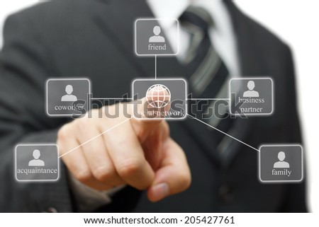 businessman is making Social network for career
