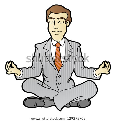 Businessman is meditating and relaxing in lotus pose.  Raster version, vector file also included in the portfolio. - stock photo