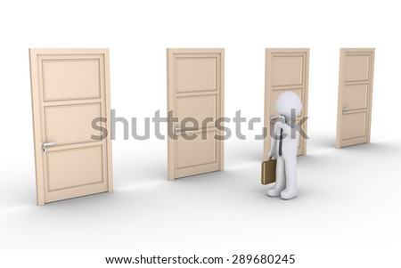 Businessman is next to four doors and is thinking which one to open