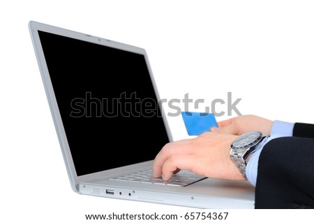 Businessman is paying with credit card online isolated over white