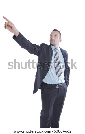 Businessman is pointing up - stock photo
