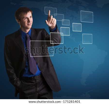 businessman is pressing digital button - stock photo