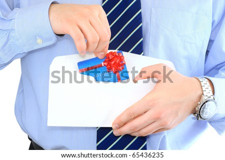 Businessman is sending a pre-approved credit card by mail - stock photo