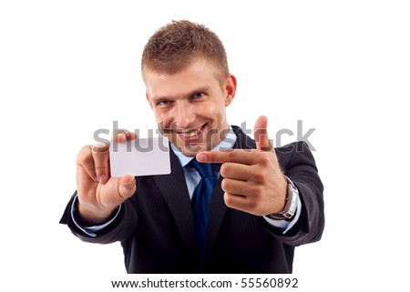 Businessman is showing blank card with copy space - stock photo