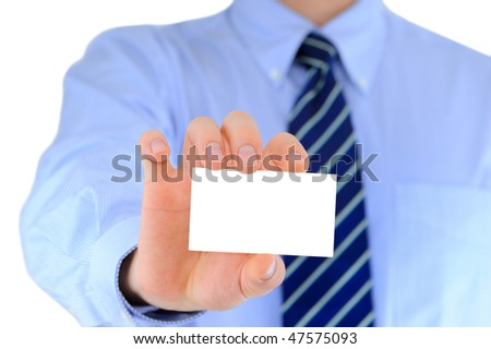 Businessman is showing his business card - stock photo