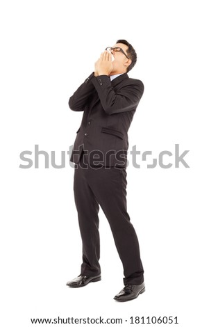 businessman is sneezing with bending body - stock photo