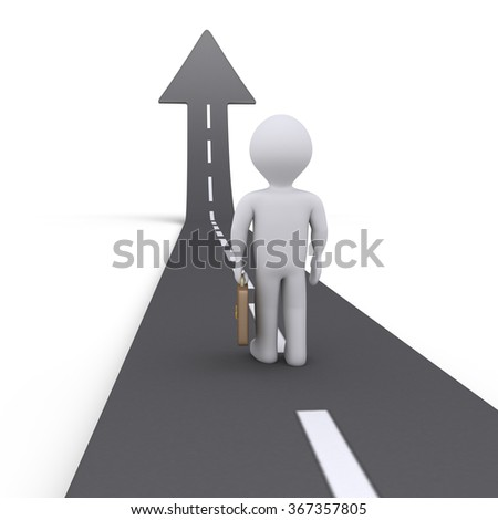 Businessman is standing on a street that is an arrow going upwards - stock photo