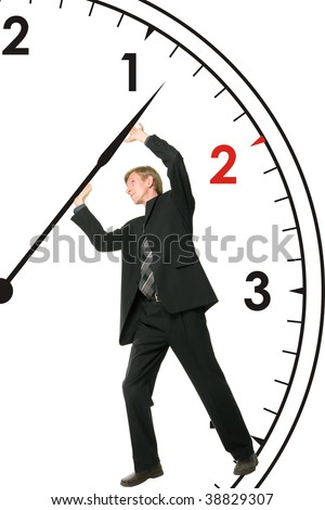 Businessman is stopping time - stock photo