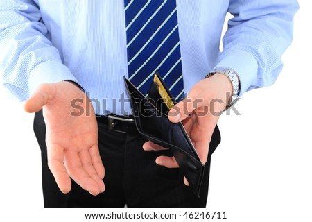 Businessman is surprised with empty wallet isolated over white