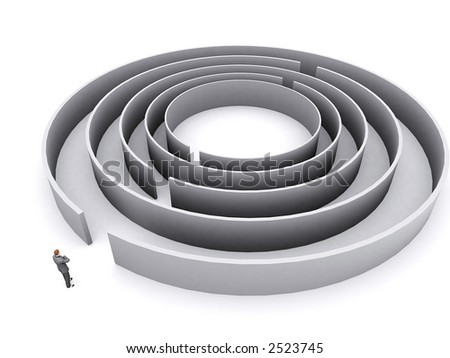 businessman is thinking about entering a difficult maze - stock photo