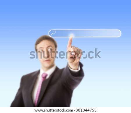 Businessman is touching and gazing at a blank search bar. Selective focus on index finger. Plenty of copy space. Do paste your web domain address into the empty finder box! Light blue background. - stock photo