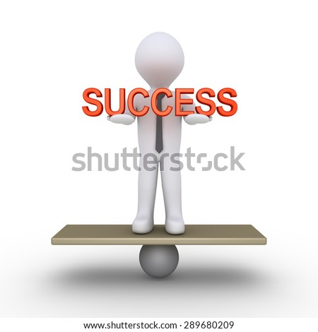 Businessman is trying to balance holding a success word - stock photo
