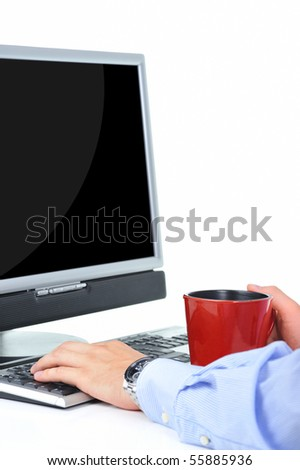 Businessman is working with a cup of coffee - stock photo