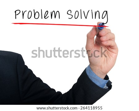 Businessman is writing Problem Solving on the transparent board. Isolated on white background. Stock Photo - stock photo