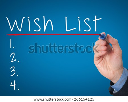 Businessman is writing wish lists on whiteboard. Wish list concept. Isolated on blue. Stock Image - stock photo