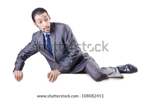 Businessman isolated on the white background - stock photo