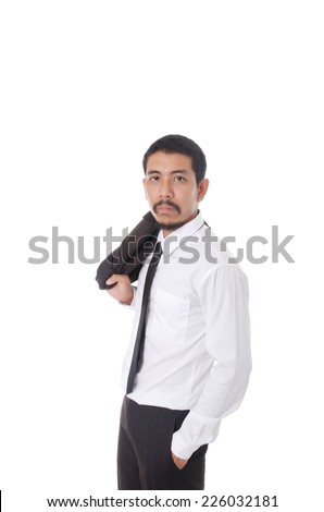 Businessman isolated on the white background. - stock photo