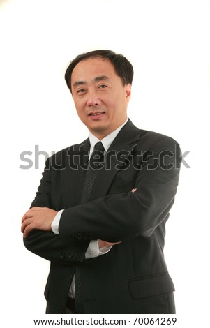 Businessman isolated on white - stock photo