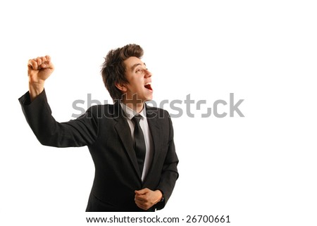 Businessman isolated on white background, rejoicing - stock photo
