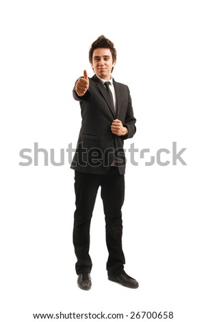 Businessman isolated on white background, showing okay sign - stock photo