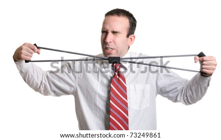 Businessman isolated on white is straining to stretch a stretch band. - stock photo