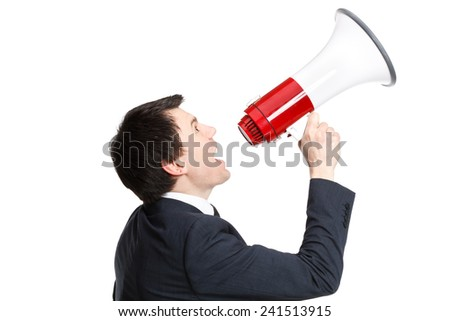 businessman isolated on white shouts in loudspeaker - stock photo