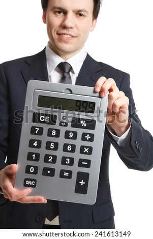 businessman isolated on white with big calculator