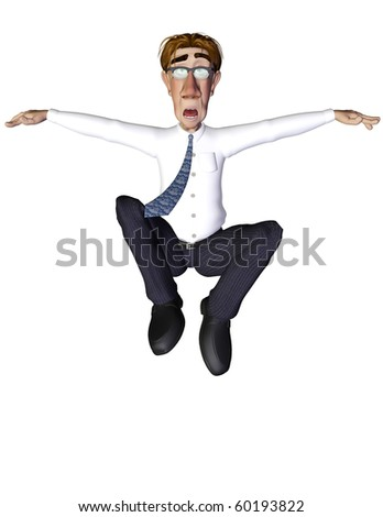 Businessman jump matrix surprised - stock photo