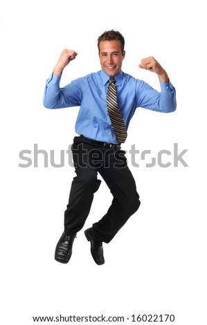 Businessman jumping and celebrating isolated on a white background - stock photo