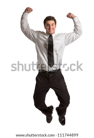 Businessman   Jumping cheerfully on Isolated White Background - stock photo