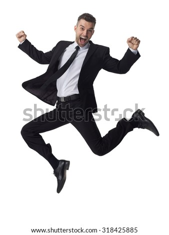 Businessman jumping full length portrait isolated on white background  - stock photo