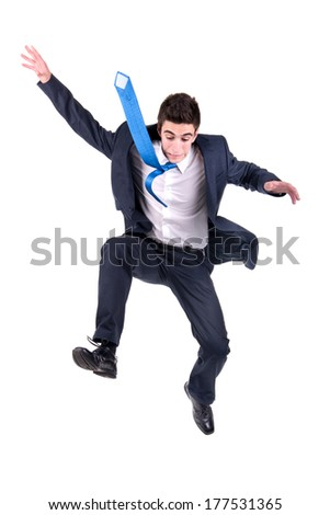 Businessman jumping high isolated in white