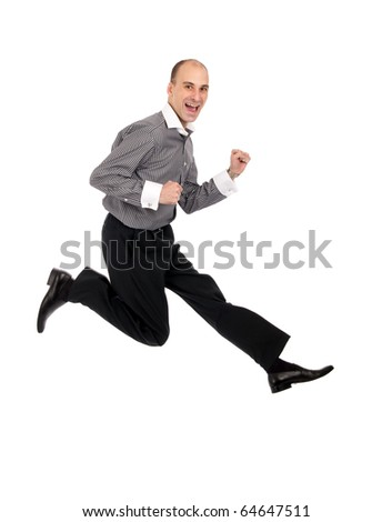Businessman jumping isolated on a white background - stock photo