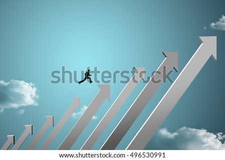 businessman jumping on growing chart