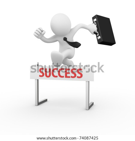 Businessman jumping over a hurdle obstacle entitled success - stock photo