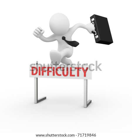 Businessman jumping over a hurdle obstacle titled Difficulty
