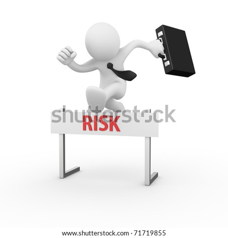 Businessman jumping over a hurdle obstacle titled Risk - stock photo