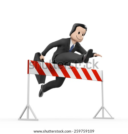 Businessman jumping over hurdle - barrier - stock photo