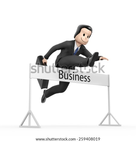 Businessman jumping over hurdle - Field Business - stock photo