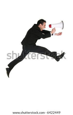 Businessman Jumping with Megaphone - stock photo