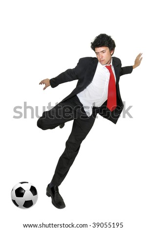 Businessman kicking a soccer ball  isolated in white - stock photo