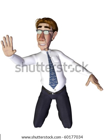 Businessman kneeled - stock photo