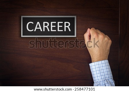 Businessman Knocking on Career Office Door, Concept of Employment and Job Hiring. - stock photo