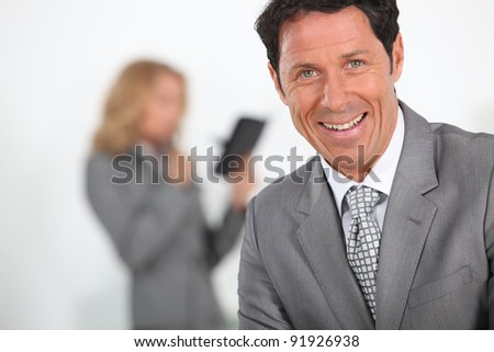 Businessman laughing - stock photo