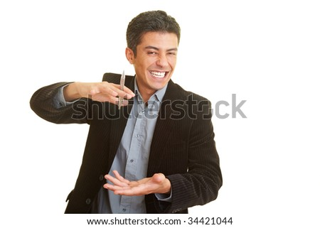 Businessman laughing and gesticulating while holding a speech - stock photo