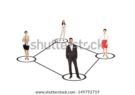 Businessman leading a business team and smiling